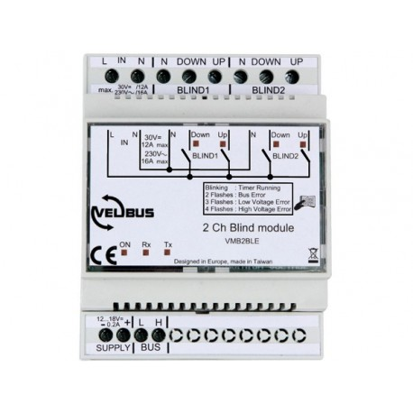 Velbus 2-channel blind control module with extended possibilities for din rail
