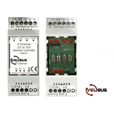 Velbus 4-channel 0/1-10v universal dimmer controller