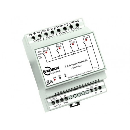 Velbus 4-channel relay module with voltage outputs for din rail