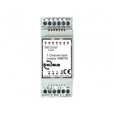 7-channel input module (potential free + pulse) for din rail