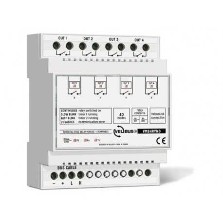 Velbus 4-channel relay module with potential-free contacts for din rail