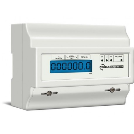 Three-phase energy meter for din rail mounting, 10 (100) a, for connection to vmb7in