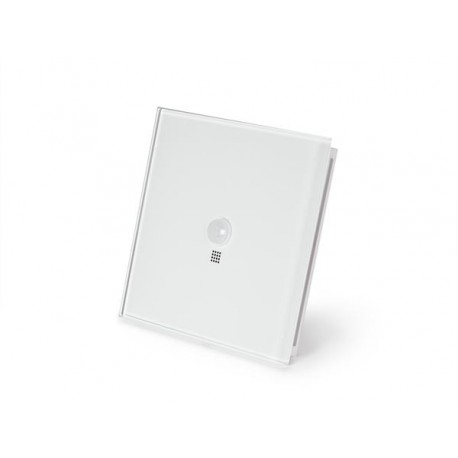 Edge lit control module with motion and twilight sensor, pure white glossy