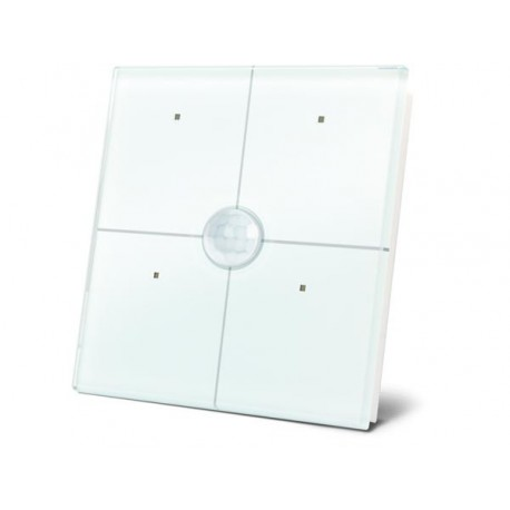 4 touch button glass panel with built-in pir sensor (white)