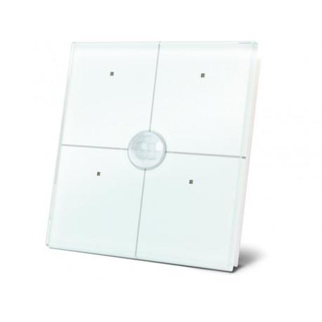 Glazen paneel met 4 aanraakknoppen en ingebouwde pir-sensor (wit)