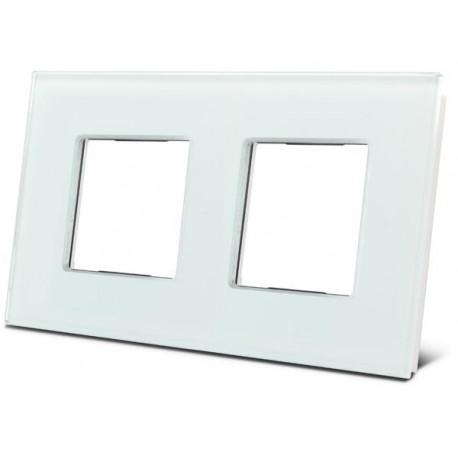 Dubbele glazen afdekplaat voor Bticino ® Livinglight (wit)